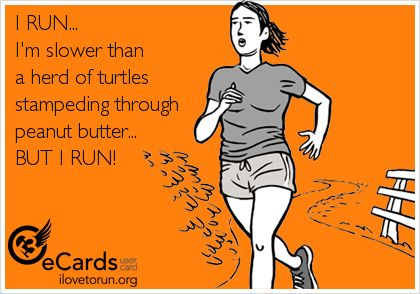 Corro más lenta que una manada de tortugas en estampida a través de la mantequilla de cacahuete...pero corro!